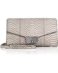 Milly Logan Python-Embossed Crossbody Bag beige - Lyst