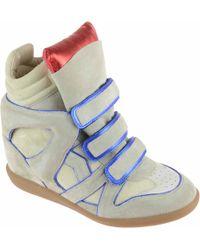 Isabel Marant Sneaker Alta Donna In Camoscio Ecru - Lyst
