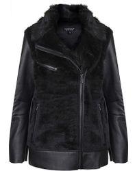 Topshop Faux Fur Bonded Biker Jacket  Black - Lyst