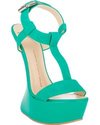 Giuseppe Zanotti Curved Wedge T-Strap Sandals - Lyst