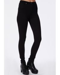 Missguided Cecily High Waist Supersoft Skinny Jeans Black - Lyst