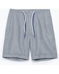 Zara Linen Basic Shorts gray - Lyst