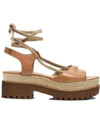 Michael Kors Kirstie Runway Leather And Jute Sandal - Lyst