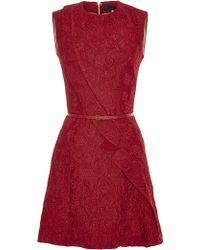 Elie Saab Cardinal Brocade Short Dress - Lyst