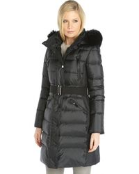 Burberry Black Quilted Down Filled Detachable Fox Fur Trimmed Hooded Puffer Coat - Lyst