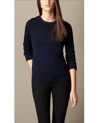 Burberry Rib Detail Merino Wool Sweater - Lyst