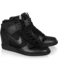super popular b3cf9 9efde ... top quality nike undercover dunk sky hi leather and faux calf hair  sneakers lyst dc6f2 eaabb