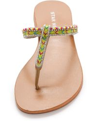 Star Mela Tabby Beaded Thong Sandals Green - Lyst