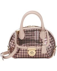 Ferragamo | Blush Pink Leather And Houndstooth Sequin Mini 'fiamma' Convertible Top Handle Bag | Lyst