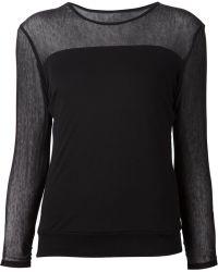 Issey Miyake Mesh Panel Long Sleeve Top black - Lyst