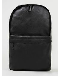 Topman Black Leather Look Backpack - Lyst