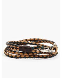 Paul Smith Mens Vegetable Dyed Leather Wraparound Bracelet - Lyst