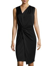 Halston Heritage Twist-knotted Asymmetric Dress - Lyst