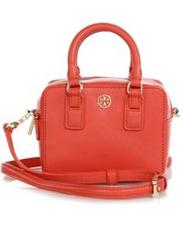 Tory Burch Robinson Shrunken Boxy Saffiano Leather Satchel - Lyst