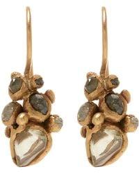 Ruth Tomlinson - Gold Raw Diamond Cluster Drop Earrings - Lyst