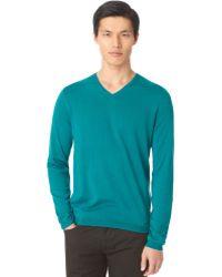 Calvin Klein Solid Vneck Sweater - Lyst