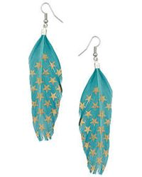 Topshop Star Feather Earrings green - Lyst