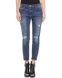 Current/Elliott The Slouchy Stiletto Jeans Tempest Destroy - Lyst