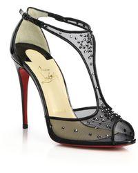 Christian Louboutin Patinana Crystal Mesh T-Strap Sandals black - Lyst