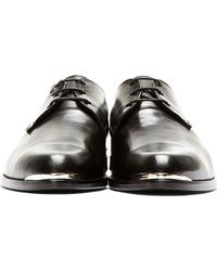 Diesel Black Gold Black Leather Silver Plaque Derbys - Lyst