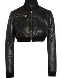 Versus  Cropped Satin Bomber Jacket - Lyst