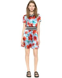 Suno Ribbed Cinch Dress - Watercolor Floral - Lyst
