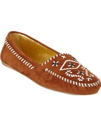 Prada Brown Whipstitch Moccasins - Lyst