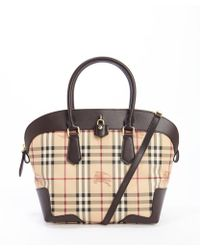 Burberry Chocolate Leather and Coated Canvas Medium Haymarket Primrose Tote - Lyst