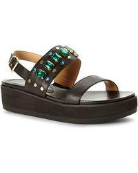 958f7ac820ea88 Isaac Mizrahi New York - Black Bling Slingback Platform Sandals - Lyst