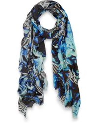 Teatum Jones - Blue Dallas Print Wool Scarf - Lyst