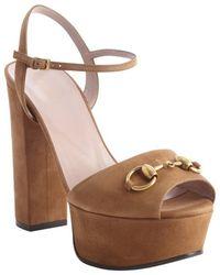 Gucci Chocolate Suede Horsebit Platform Peep Toe Sandals - Lyst