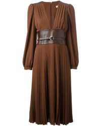 Michael Kors Brown Pleated Dress - Lyst