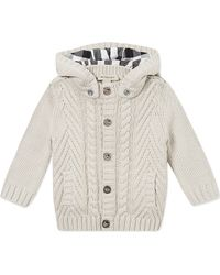 Burberry Cable Knit Hooded Cardigan 12 Months - Lyst