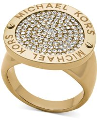 Michael Kors Goldtone Logoetched Pavè Disc Ring - Lyst