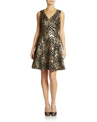 Vince Camuto Metallic Brocade Cocktail Dress - Lyst