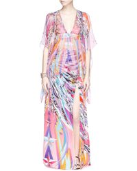 Emilio Pucci Star Feather Print Silk Chiffon Blouse - Lyst