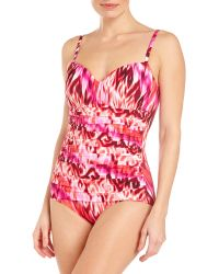 Miraclesuit Pink Printed Rialto Ruched One-piece Swimsuit - Lyst
