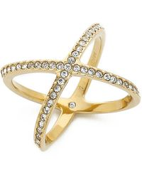 Michael Kors Pave X Midi Ring - Gold/Clear - Lyst