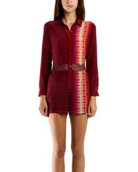 Charlotte Ronson Printed Cutout Romper red - Lyst