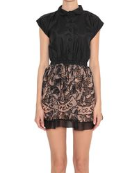 RED Valentino Silk And Organza Dress With Cut Out Embroidery - Lyst