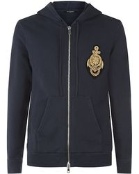 Balmain Anchor Patch Hooded Sweater - Lyst