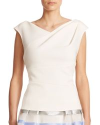 Kay Unger Stretch Ruched Top white - Lyst