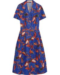 Clements Ribeiro - Astrid Printed Cotton and Silkblend Twill Dress - Lyst