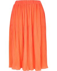 River Island Coral Pleated Midi Skirt - Lyst