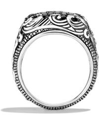 David Yurman - Waves Signet Ring with Black Diamonds - Lyst