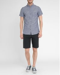 Knowledge Cotton Apparel Blue Chambray Cotton And Linen Shirt - Lyst