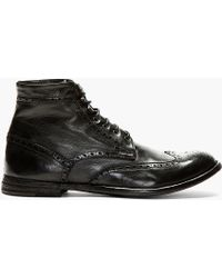 Officine Creative Black Leather Brogued Ignis Tinto Boots - Lyst
