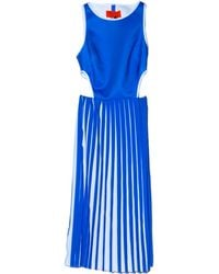 Clover Canyon Ocean Blue Pleated Cut Out Dress - Lyst