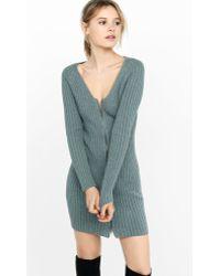 3112944641 Express - Engineered Rib Zip-front Sweater Dress - Lyst