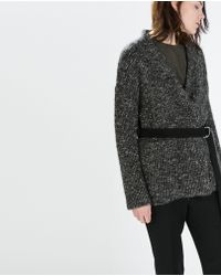 Zara Short Knit Coat With Belt - Lyst